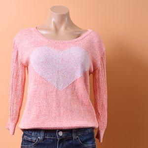 Anthropologie Yellow Bird Pink Heart Knit Sweater